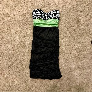 Green, Black, & Zebra Juniors Dress